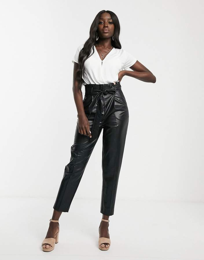 New Look leather look paperbag trousers in black