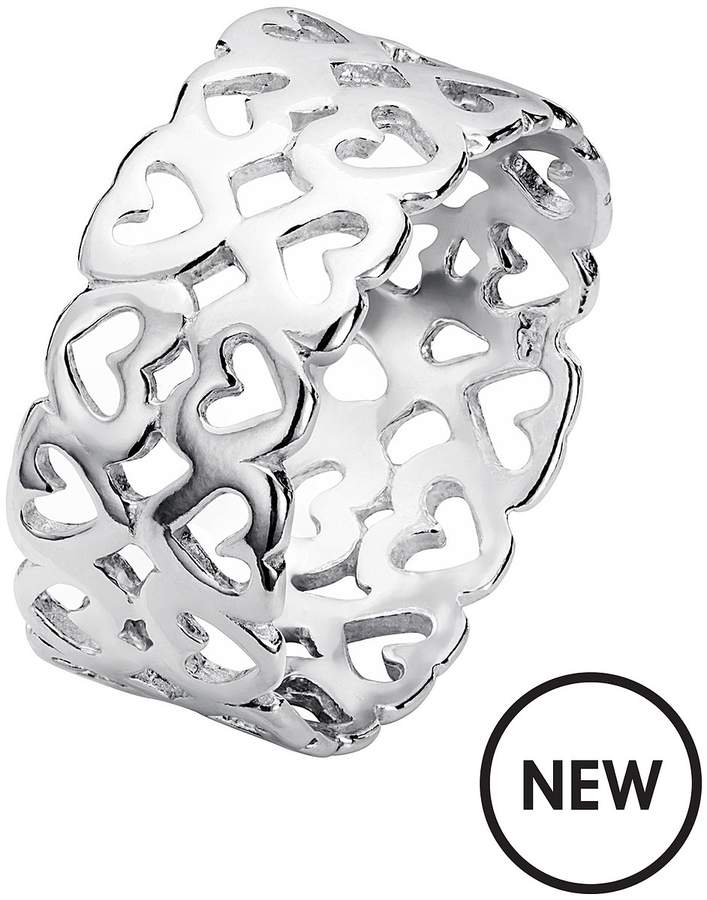 The Love Silver Collection Sterling Silver Double Row Cut Out Heart Ring