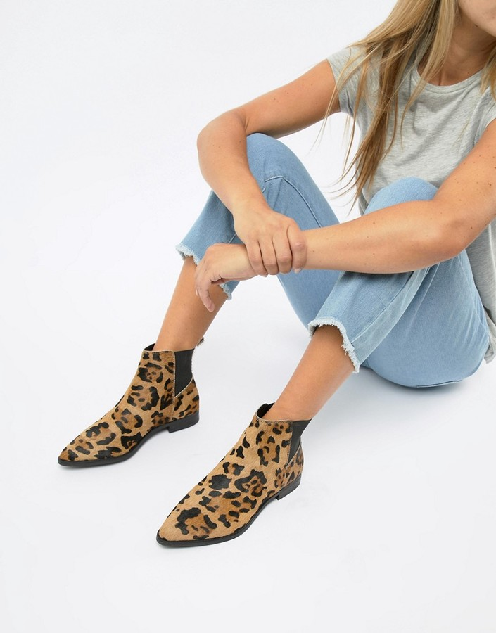 Asos Design ASOS DESIGN Atom leather chelsea boots in leopard print