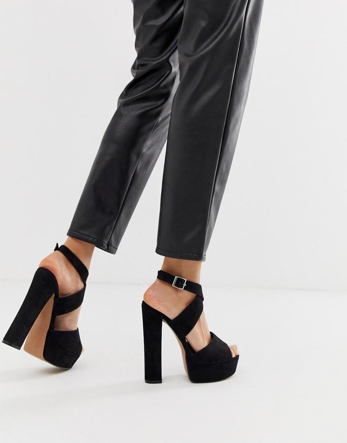 Asos Design ASOS DESIGN Hutchinson platform block heeled sandals-Black