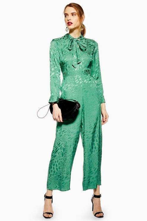Topshop Womens Jacquard Jumpsuit - Green