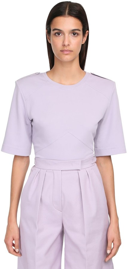 Cotton Jersey T-shirt W/ Shoulder Pads