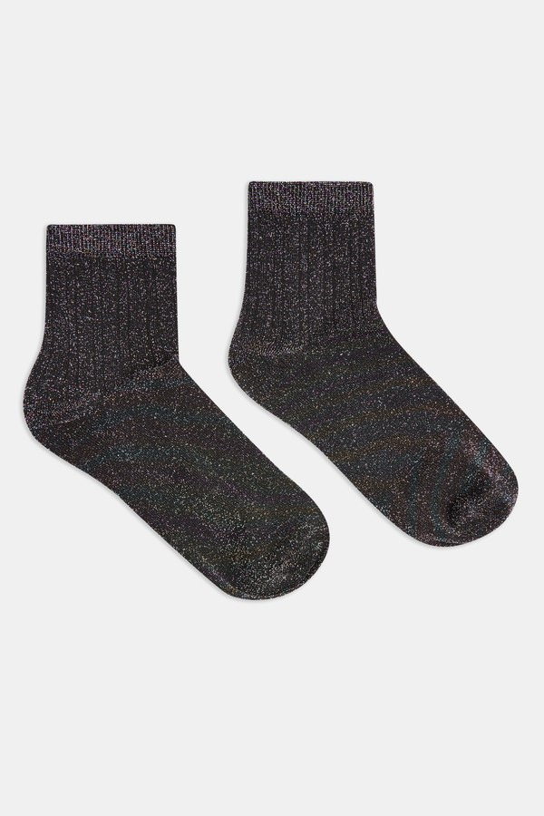 Womens Multi 3X2 Ribbed Glitter Socks - Multi