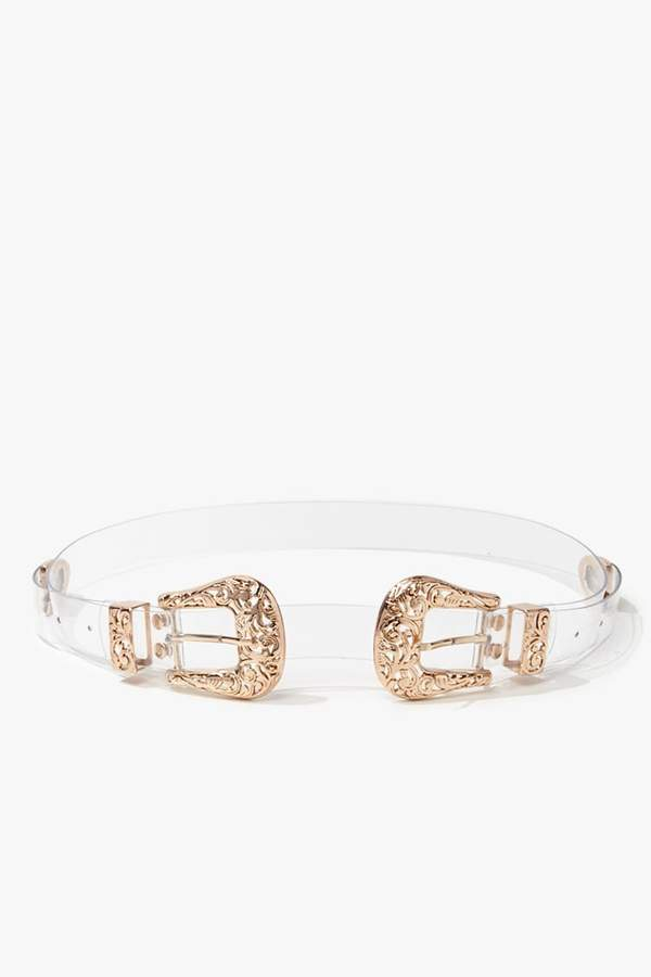 Forever 21 Transparent Baroque-Buckle Waist Belt