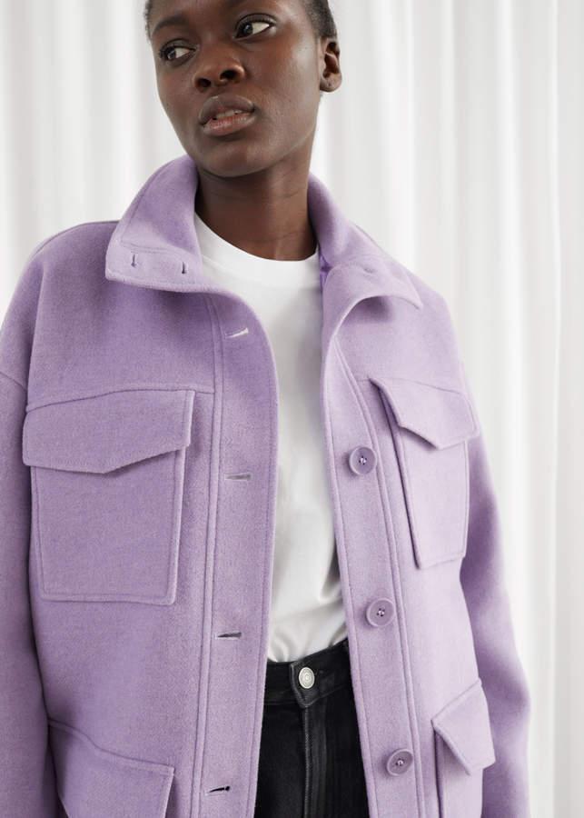 Oversized Wool Blend Utility Jacket