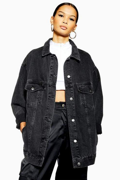 Topshop Womens Dad Denim Jacket - Washed Black