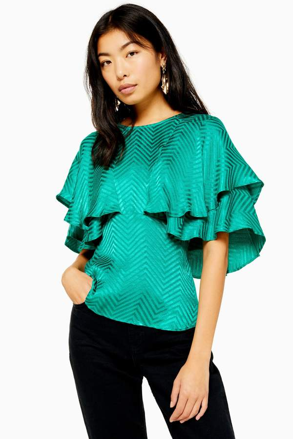 Topshop Womens Austin Jacquard Angel Sleeve Blouse - Green