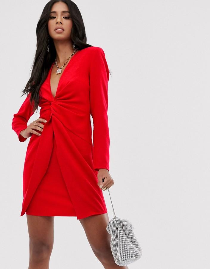 Asos Design ASOS DESIGN twist front mini dress-Red