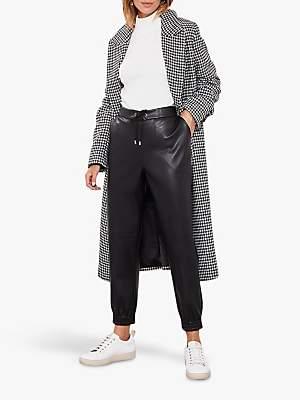 Mint Velvet Faux Leather Joggers, Black
