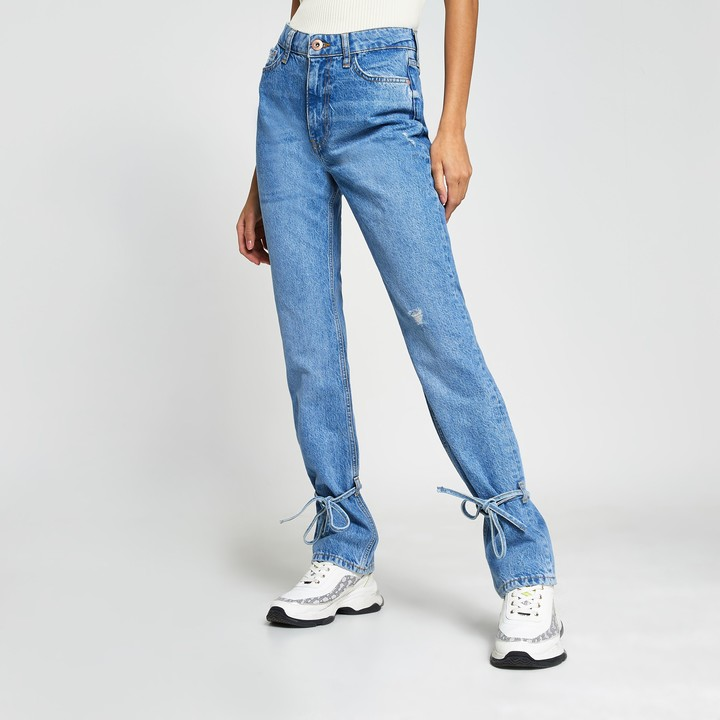 River Island Womens Blue ripped high waisted slim fit jean