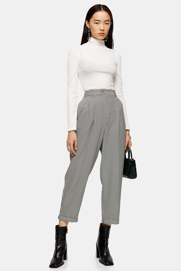 Womens Houndstooth Check Ovoid Trousers - Monochrome