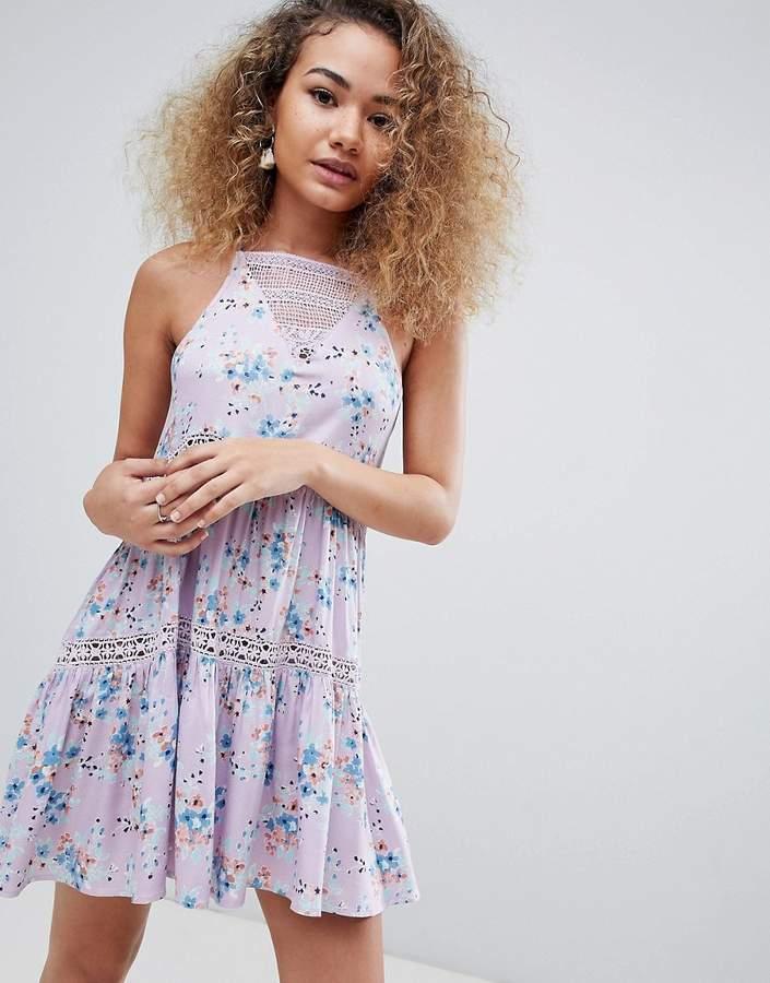 En Crème En Creme sleeveless floral mini dress-Purple