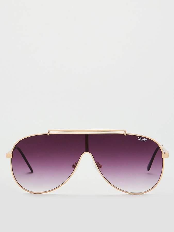 Quay Australia QUAY AUSTRALIA #QUAYXJLO ElDinero Pilot Sunglasses - Gold/Purple
