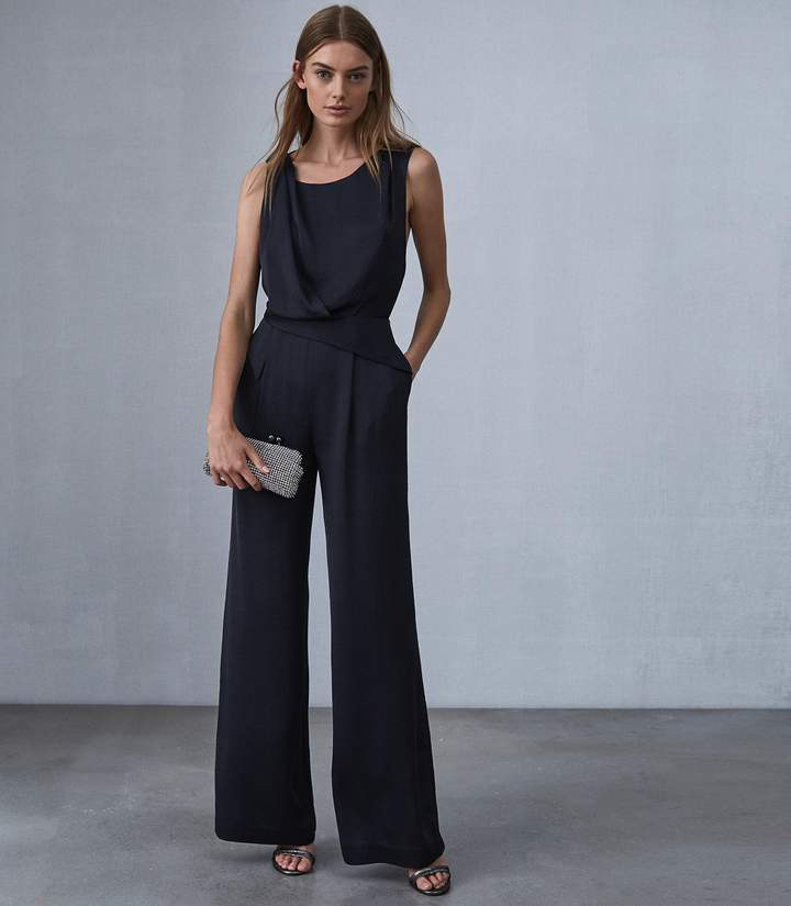 Reiss Benita - Low Back Detail Jumpsuit in Navy