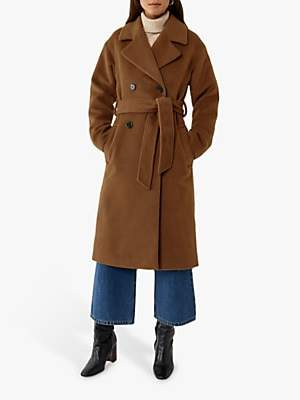 Warehouse Textured Double-Breasted Belted Wrap Coat, Tan