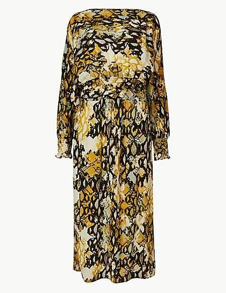 M&S Collection Animal Print Long Sleeve Waisted Midi Dress