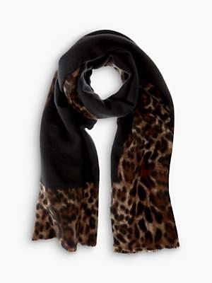 Mint Velvet Leopard Print Border Scarf, Black