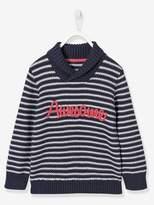 Boys Shawl Collar Top - blue dark striped