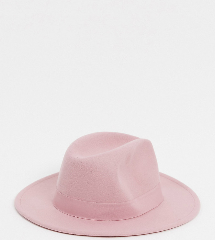 My Accessories London Exclusive fedora with buckle detail in pink