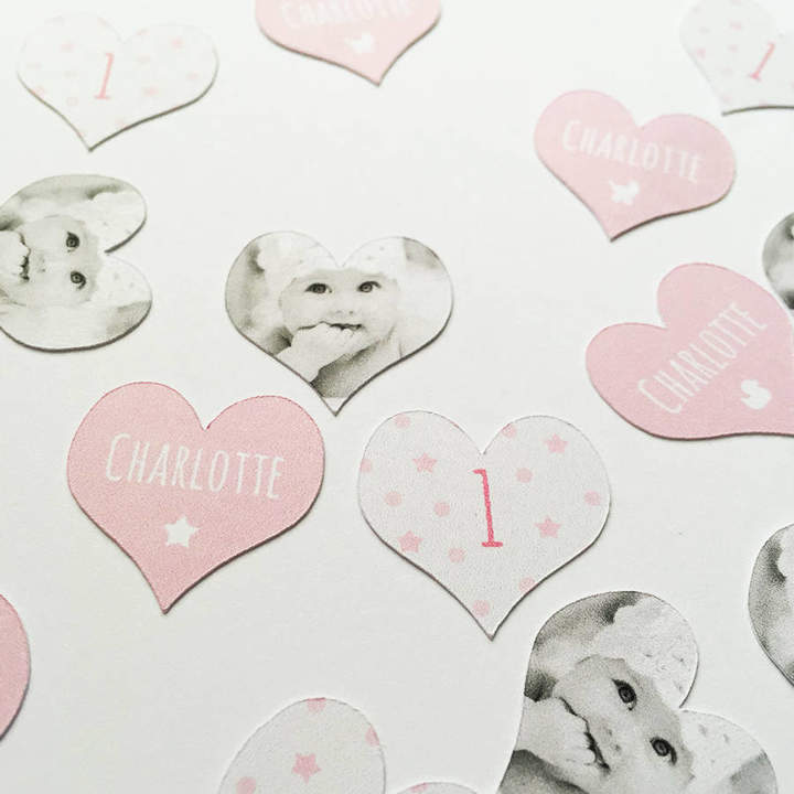 PopBox Party Personalised Photo '1st Birthday' Girl's Table Confetti