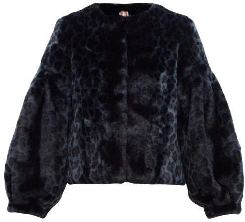 Shrimps - Fergal Leopard-print Faux-fur Jacket - Womens - Navy