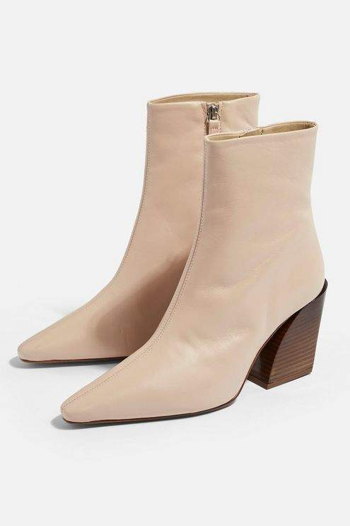 Topshop Womens Henley Western Boots - Nude