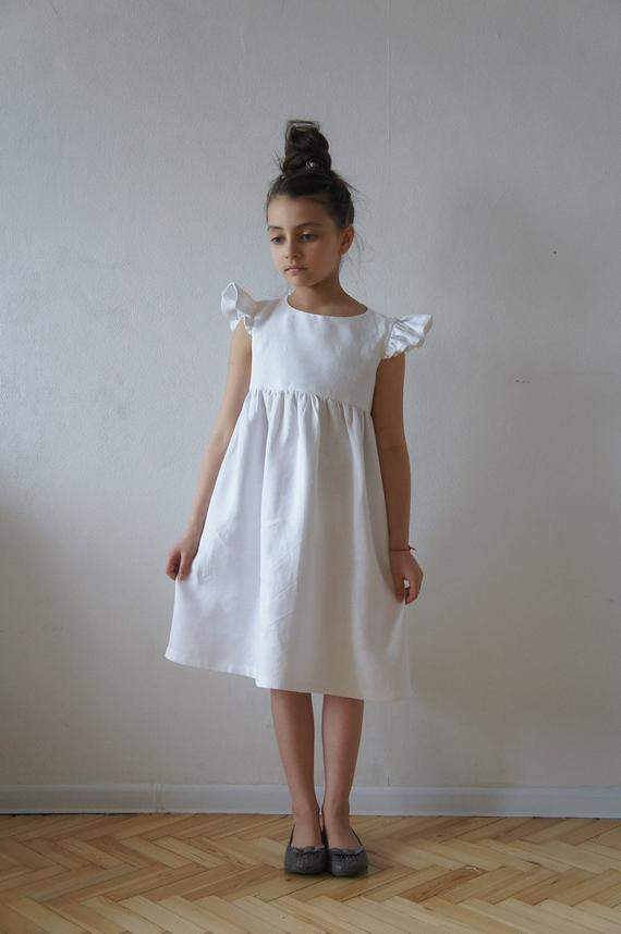 Linen dress, Linen girl dress, Communion Dress, Communion Linen Dress, Bridesmaid girl dress, Flower linen dress, Flower girl dress,