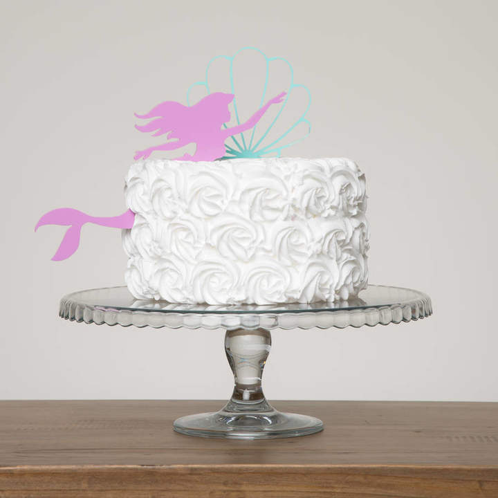Funky Laser Mermaid And Oyster Shell Birthday Girl Cake Decoration