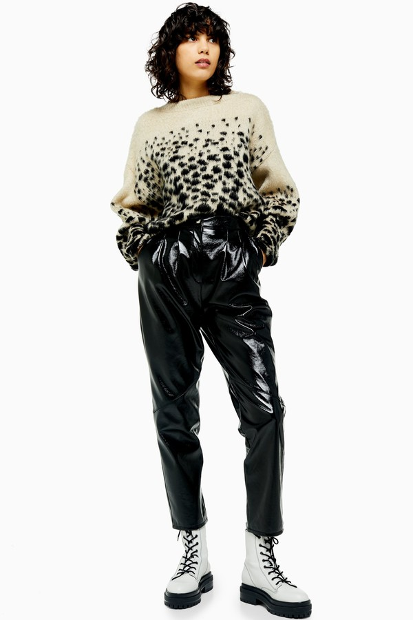 Topshop Womens Black Cracked Faux Leather Vinyl Peg Trousers - Black