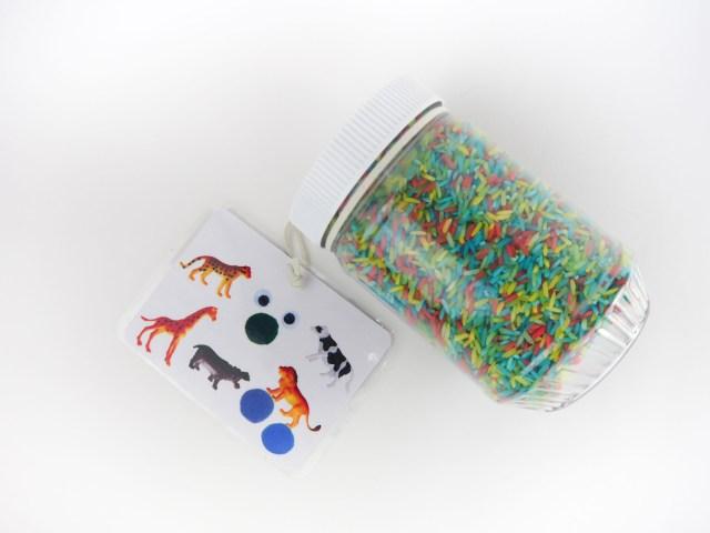 DIY 動物捉迷藏罐 完成罐和照片圖卡 Animal Hunting Bottle