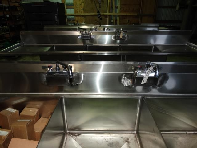 Used Three Compartment Stainless Steel Bar Sink