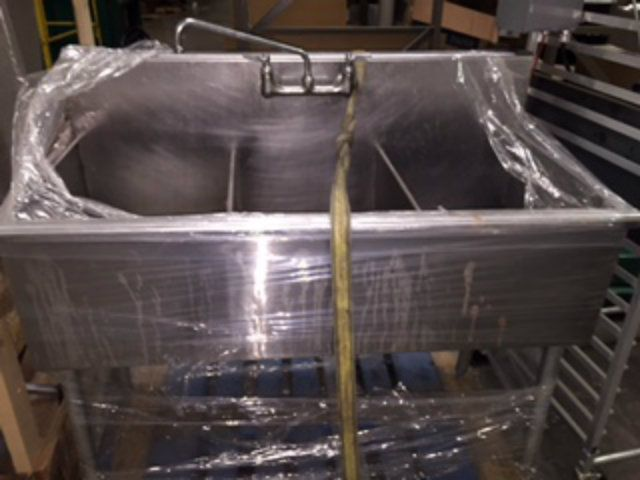 Used Three Compartment Stainless Steel Wash Sink