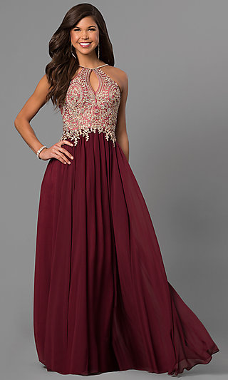 Junior Black Long Prom Dress With Beaded Lace