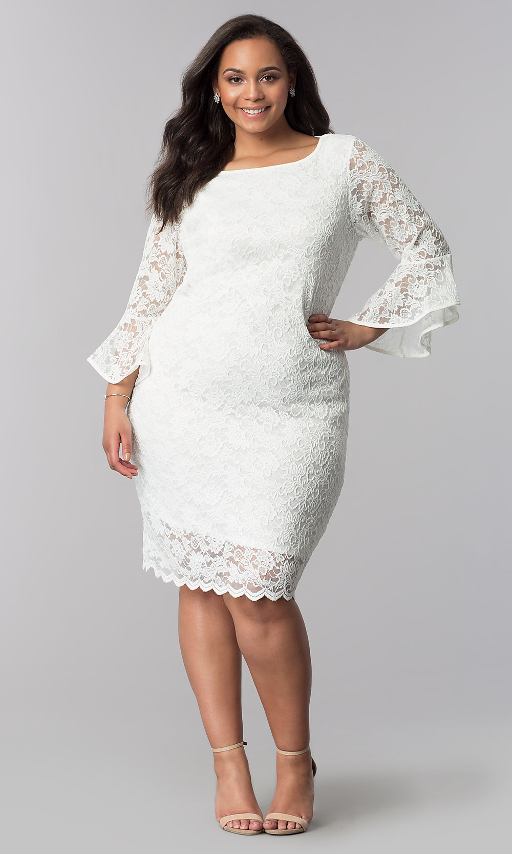 White Plus-Size Short Lace Party Dress with Sleeves