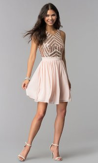 Rose Gold Short Homecoming Dress with Sequin Bodice
