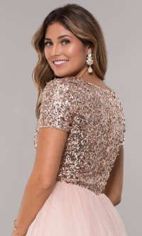Rose Gold Short-Sleeved Homecoming Dress with Sequins