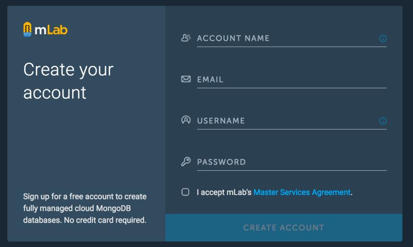 mLab 帳號申請