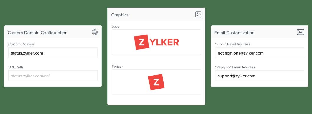 Mostra as opções de personalização da página de status disponíveis.