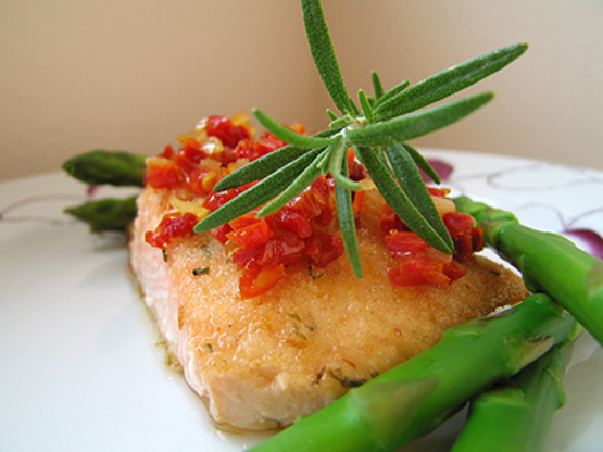 Herbed Salmon Fillets With SunDried Tomato Topping Recipe