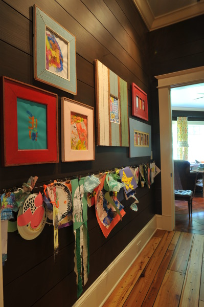 Kids Art Center, Art central in my house for 4 kids under 5: chalkboard, a place to hang the kids art by binder clips, frame more of their art, magnet board and a corkboard, from many saved corks, to hold invitations., Other Spaces Design