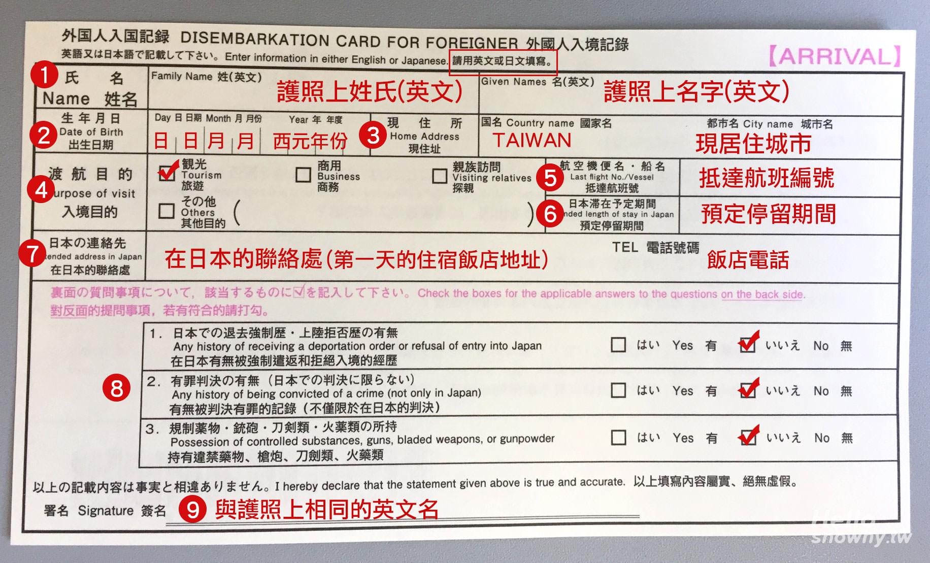 日旅必看 | 2020最新版日本入境卡怎麼寫?海關申告書填寫範例 入境日本