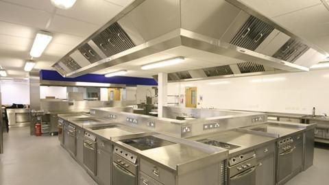 commercial kitchen tile counter rack 商用厨房设计原则 商用厨房设计装修注意事项 房天下装修知识