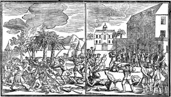 洪溪惨案期间对华人关押者的处决 (Wikimedia Commons)