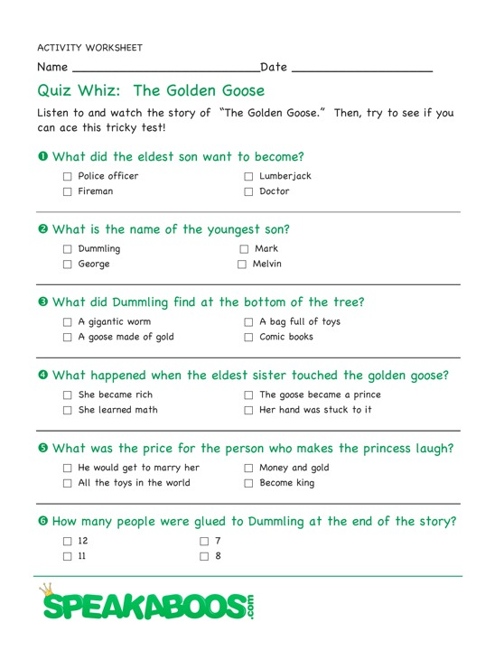Quiz Whiz The Golden Goose