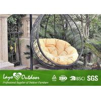 Long Oval Outdoor Hanging Swing Chair With Cushion Rattan ...