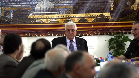 Le président de l'Autorité palestinienne Mahmoud Abbas dirige une rencontre de l'OLP et de la direction du Fatah à Ramallah, le 2 octobre 2010.
