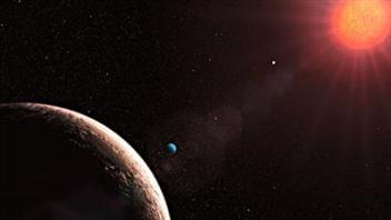 Impression artistique d'une exoplanète autour de l'étoile Gliese 581