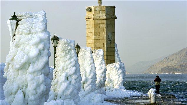 Le port de Senj, sur l'Adriatique, couvert de glace (8 février).
