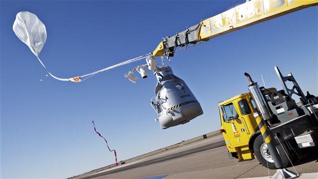 Le ballon qui a propulsé Felix Baumgartner dans les airs depuis Roswell, dans l'État du Nouveau-Mexique.