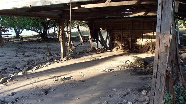 Les restes d'une école primaire à Lata, aux îles Santa Cruz, dans l'archipel des îles Salomon, dans le Pacifique, qui a été touché par un violent séisme suivi d'un tsunami.